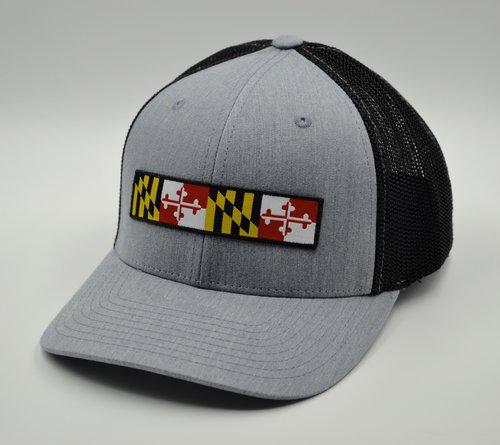 Maryland Long Flag FlexFit Trucker Hat Grey/Black LG/XL