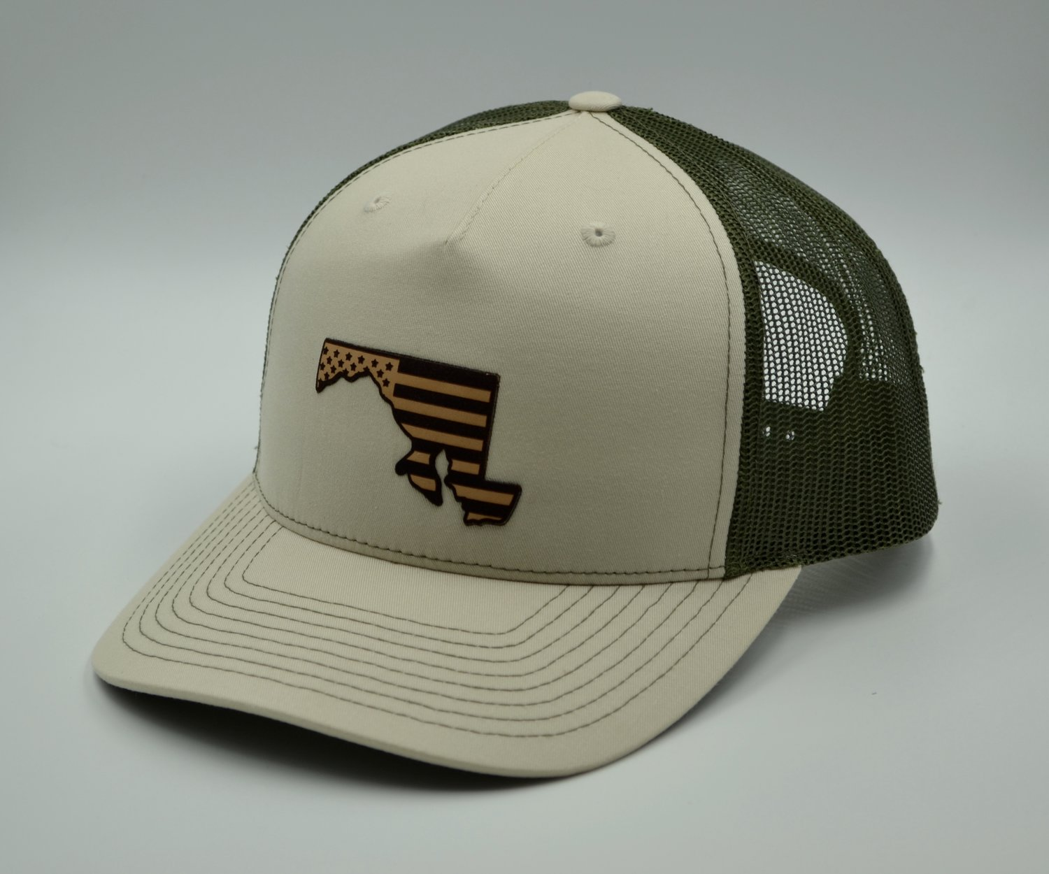 USA State Flag Patch Trucker Hat Khaki and Olive — MARYLANDHATS.COM a428fcc4a86