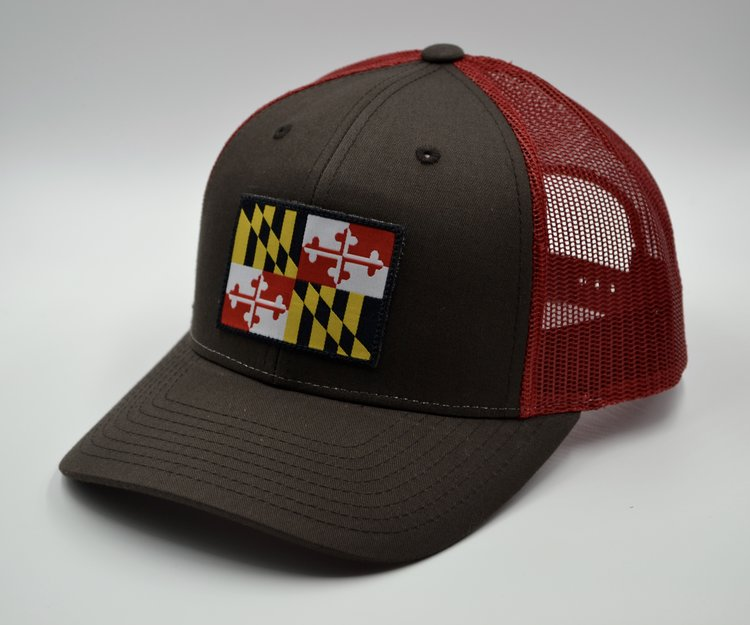 6624bfd3351 Classic Flag Trucker Hat Brown and Red