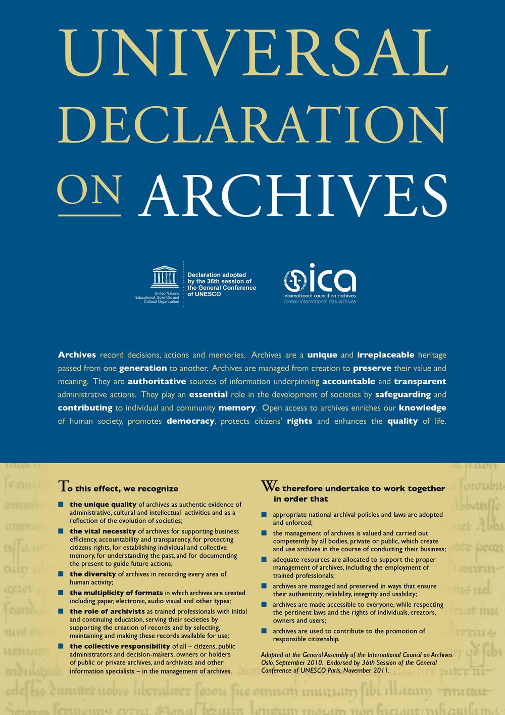 Universal Declaration on Archives by UNESCO & ICA