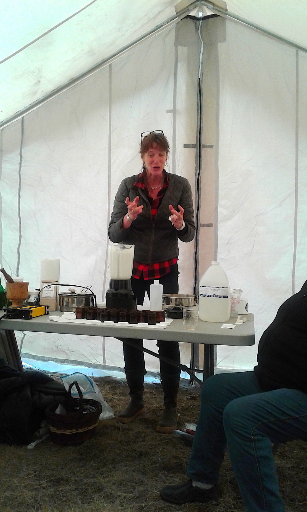 Beverley Gray at KFN Culture and Harvest Gathering Camp teaching us how to make arnica creams (2018 Aug)
