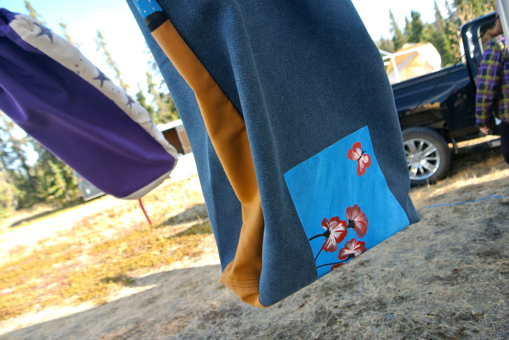 Sewing and Painting Meat Bags at Kluane Culture and Harvest Gathering Camp (2018 Aug)