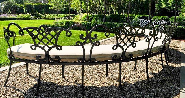 Take a Seat #gardenseating #gardenbench #antique #gardenantique #restored #1920s #estate #englishgarden #bordergarden #estatefurniture #custom #outdoorfabrics #greatgatsby #greatfind