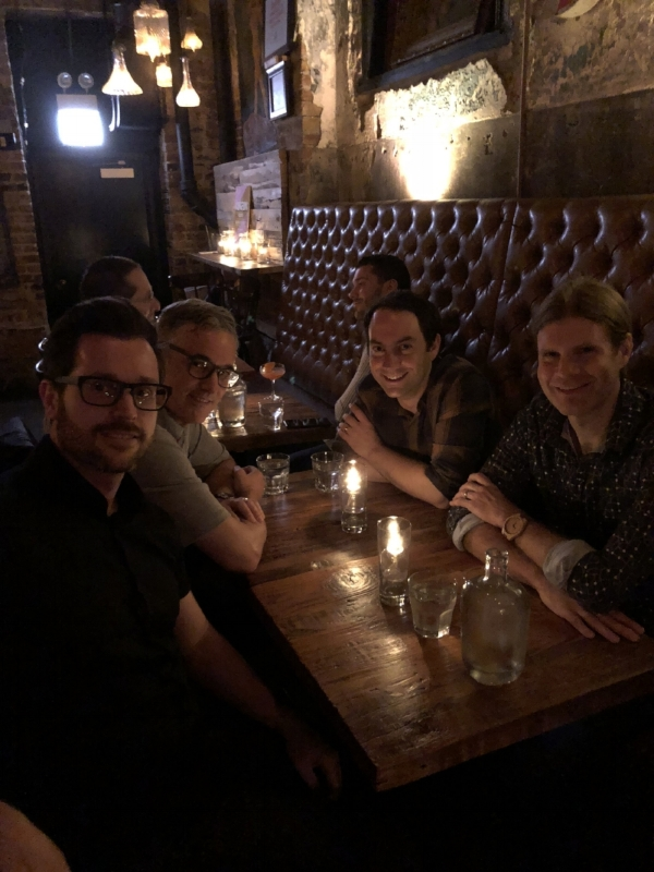 At a Chicago Speakeasy. Left to right: Mark Sheffield, Nelson Spruston, Matt Kaufman, Dave Freedman