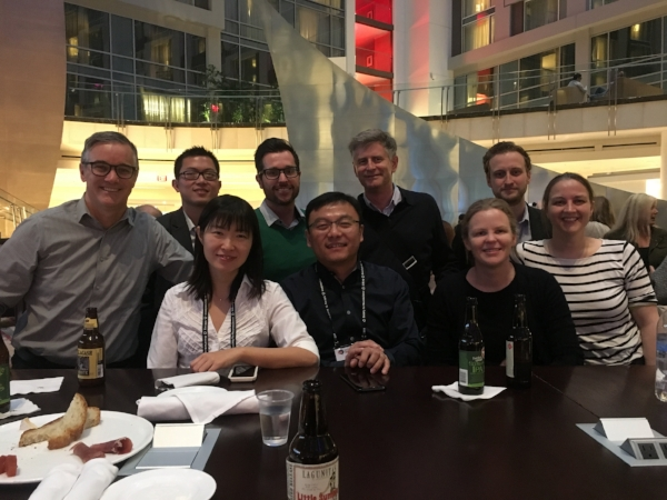 SFN 2017. Left to right: Nelson Spruston, Simon Chen, Wei Wei, Mark Sheffield, Jun Ding, Michael Hausser, Lucy Palmer, Johan Winnubst, Christine Grienberger