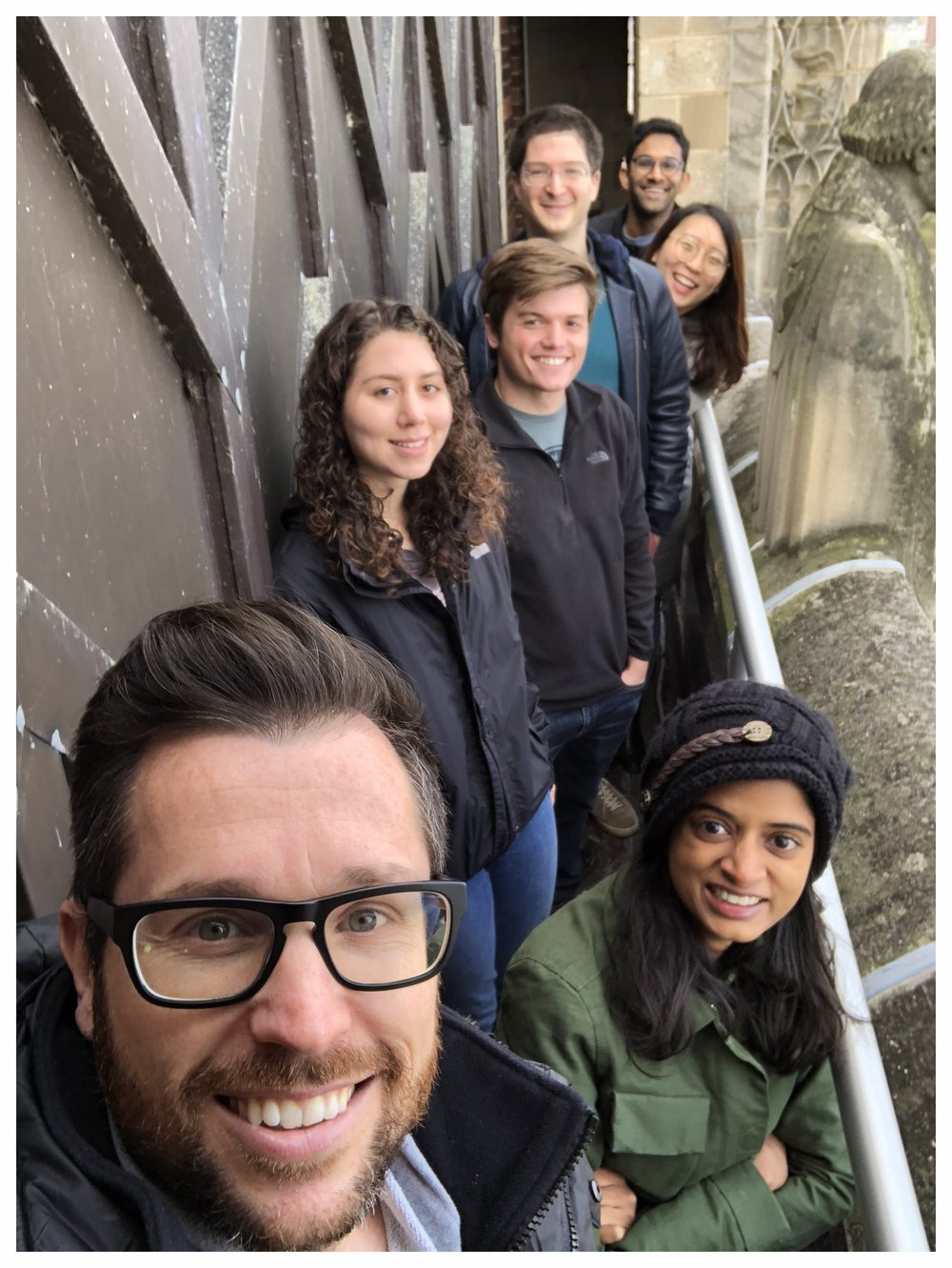 Fall 2018 on top of Rockefeller Chapel.  From front to back: Mark; Seetha; Sophia; Chad; Antoine; Can; Chery