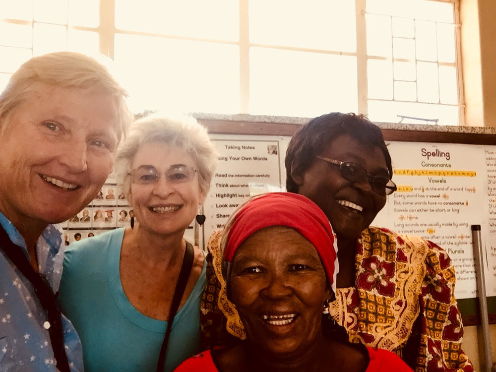 CSNS & CSN board members in Namibia. Left to right are Helge Mercker, Terry Adler, Chief Ita Kambases and Theresa Matengu