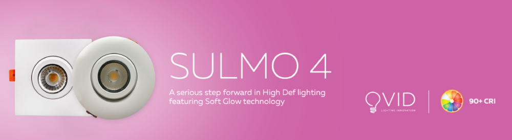 """Ovid - Sulmo 4    $49.00/e promo vs regular $57.00/e   Finally a true 4"""" pot light replacement in a sleek package. Ovid famous for there high colour rendering providing true natural light while removing the blue light typically associated with LED lighting. Featuring 900 lumens, soft glow dimming similar to a sunset (3000K-2200K) with airtight and IC ratings this is a top 2018 innovative product."""