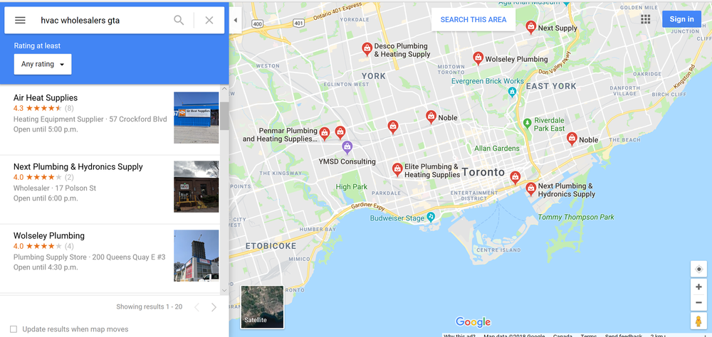 hvac_wholesalers_GTA_google_maps_search