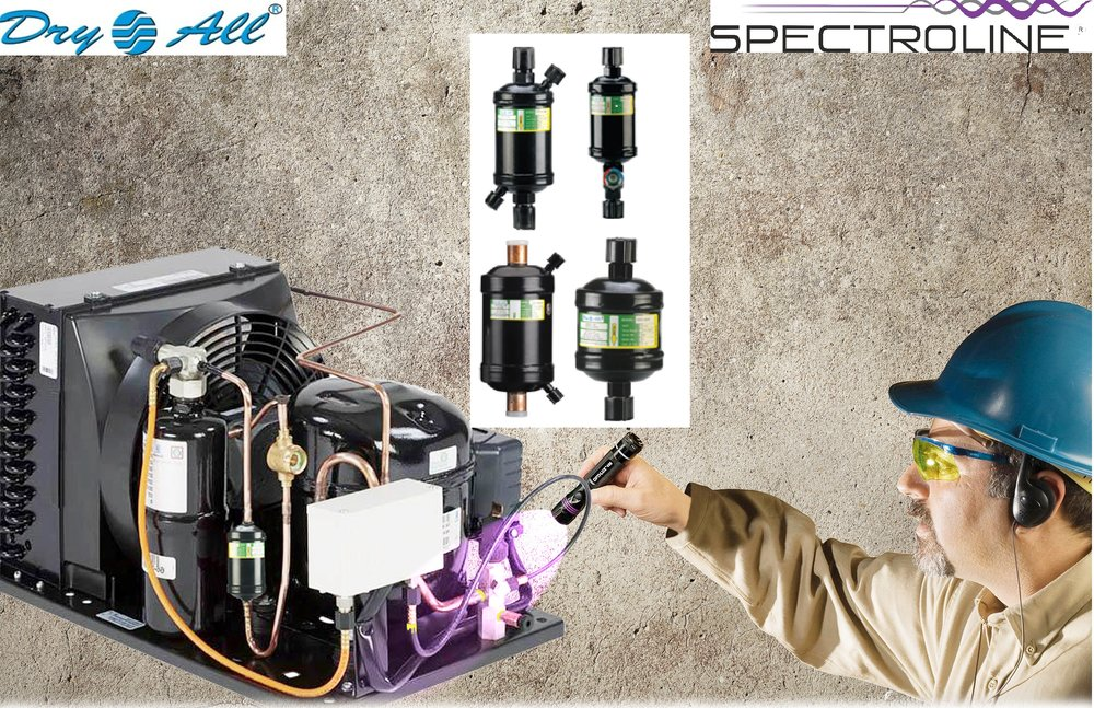 Dry All - Filter Driers with Leak Detection Tracer    Product Model: DMH 032/052/083/163/303 (various sizes)        $8 - $35   Liquid Line filter driers charged with  Spectroline ® fluorescent tracer to easily find refrigerant leaks. Available in flare or brazed connection. Please contact for availability.