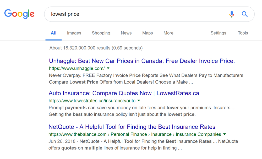 Figure 1: Google search of 'pay lowest price' shows the following results