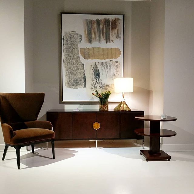 "Century ""Details Case"", Vienna Lima chairside table and the Lucia Wing chair with nailheads.  #centuryfurniture #interiordesign #designinspiration #Interiors #tothetrade"
