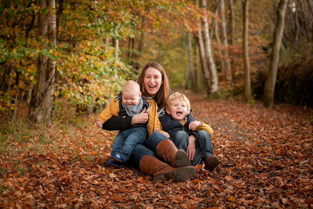 Mum with boys in Angus wood.