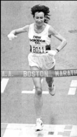 Pictured above: Lorraince Moller winning the 1984 Boston Marathon.