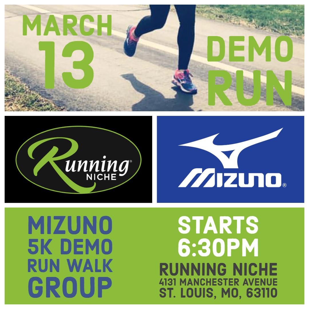 f5e0d5a85 Mizuno Running Demo 5k Run/Walk Group at Running Niche in the Grove St.  Louis — Calendar — Upcoming Local Events St. Louis — Walking, Training, ...