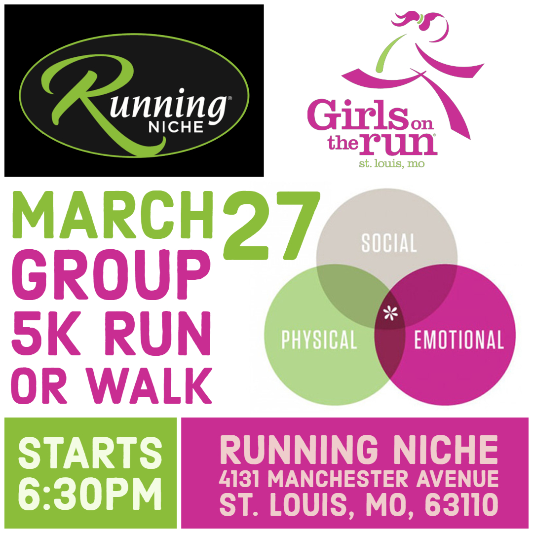 697872884 Girls on the Run STL 5k Run/Walk Group at Running Niche in the Grove —  Calendar — Upcoming Local Events St. Louis — Walking, Training, Groups —  Running ...