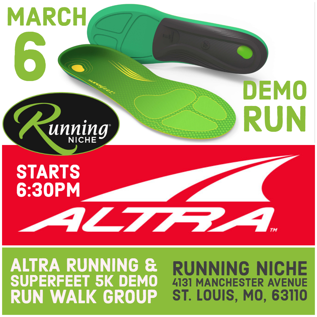 7ca20914a Altra and Superfeet Demo 5K Run/Walk at Running Niche in the Grove St. Louis  — Calendar — Upcoming Local Events St. Louis — Walking, Training, ...