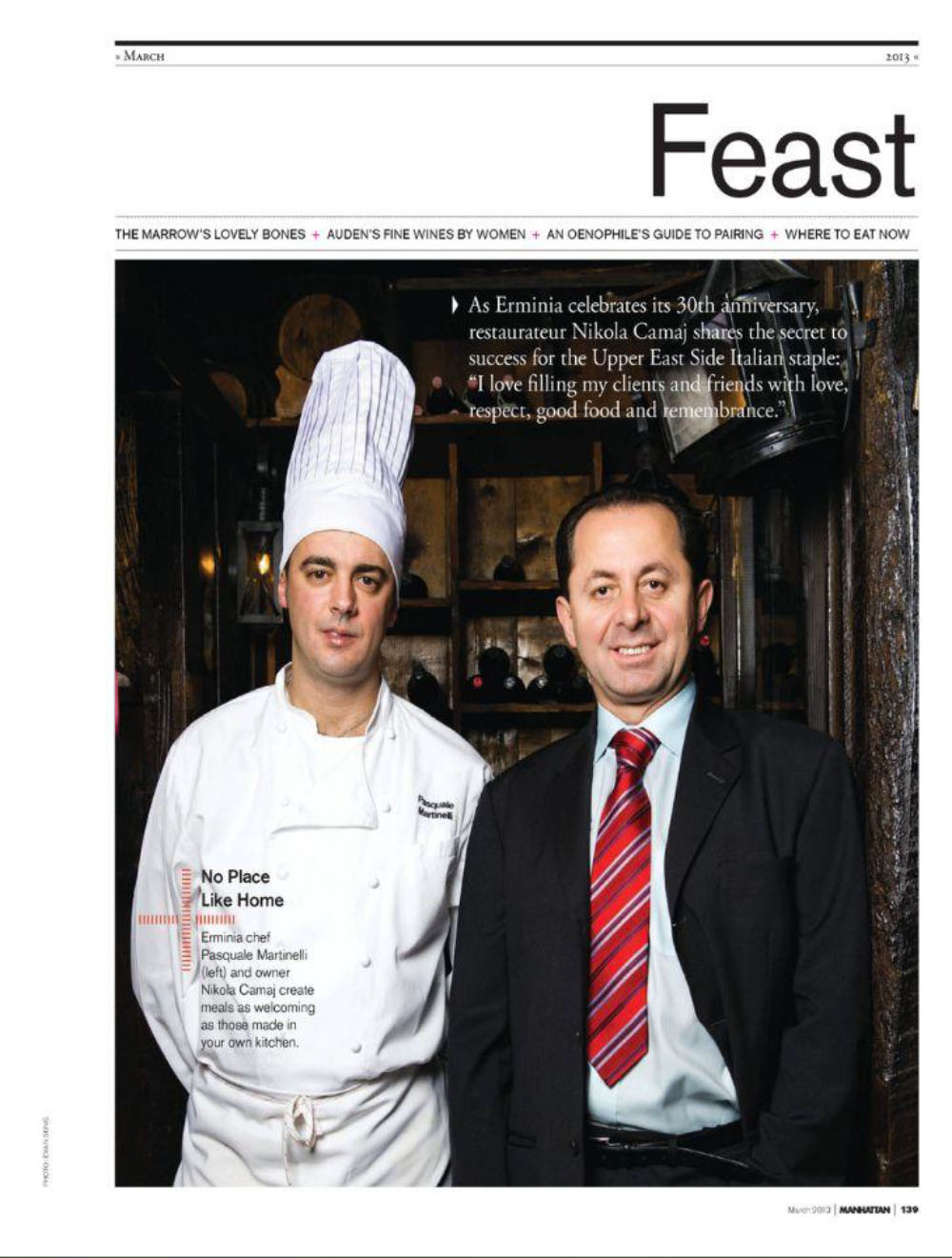 Chef Pasquale Martinelli featured on Manhattan Magazine by CNN anchor Chris Cuomo