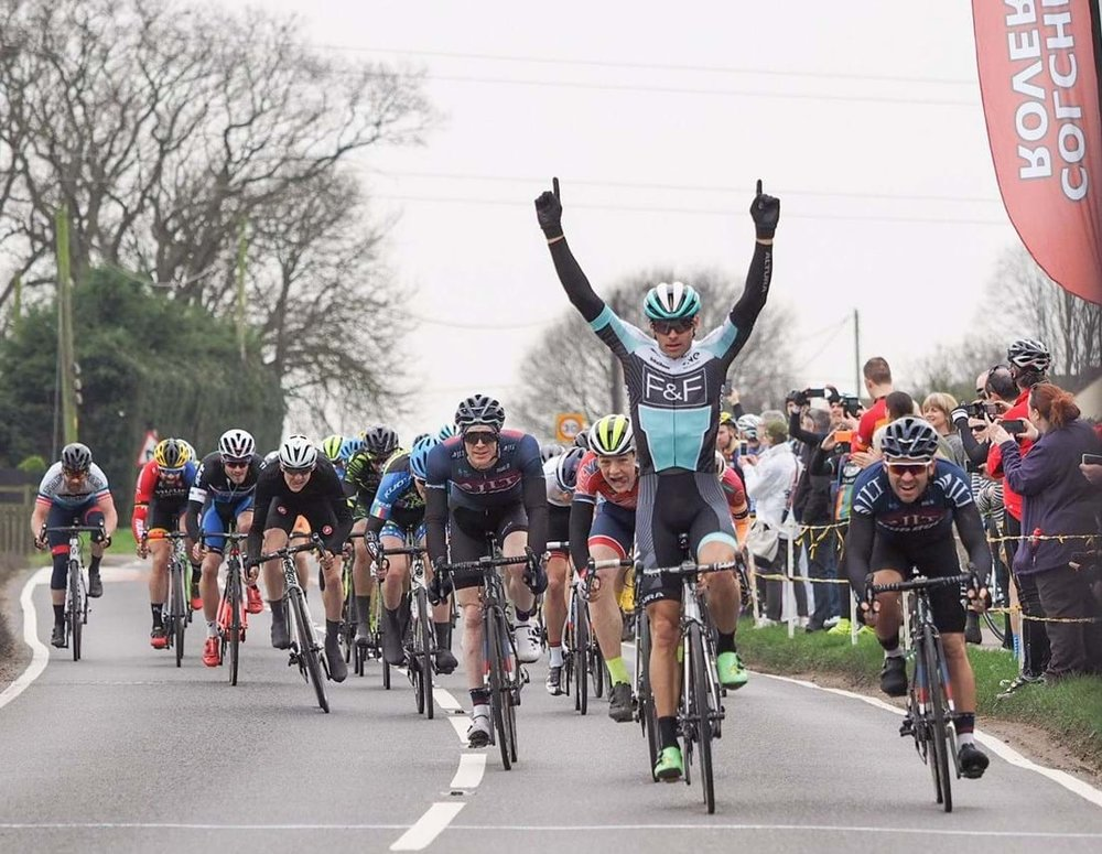 Steele Von Hoff sprints to victory ahead of Graham Briggs and Jacob Vaughan. Photo: Trevor Mould