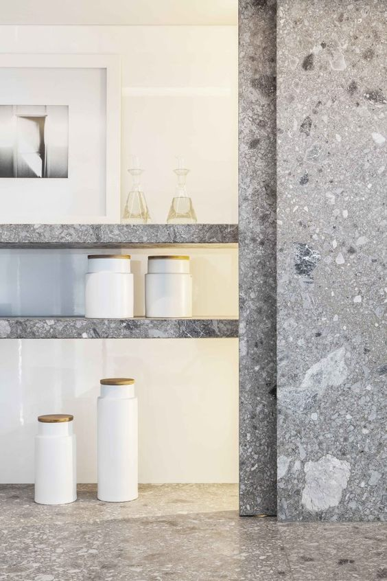 a nice feature of terrazzo is how easy it is to do in large formats. unlike slabs which do have size limitations, terrazzo is virtually limitless. creating the material on-site/surface makes for no seams, too. cost and aesthetically effective! +++