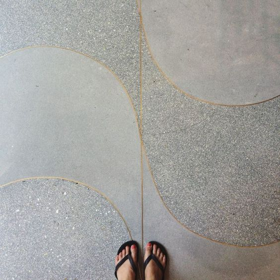 terrazzo is fantastic in the ability to be poured in any shape or format, and the metal dividers are stunning. it can be created in virtually any color, polished or honed, and can include any aggregate your heart could ever desire.