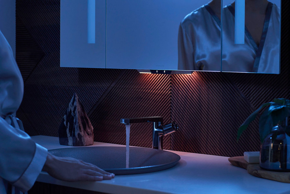the mirror nightlight at work; no need for fumbling. functionality depends on how far away your toilet night light is though.