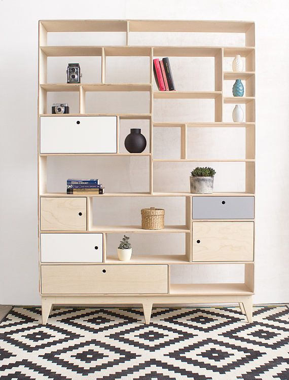 scandinavian design plywood bookshelf