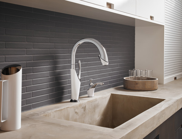 brizo is leading the game with its mixed finish faucet, incorporating both the white and chrome.