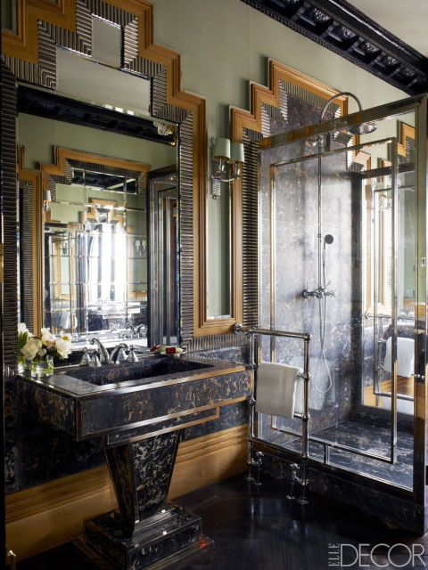 devon & devon contemporary deco gold and black bathroom nero marquina pedestal with chrome widespread lav with lever handles - the ultimate guide to luxury plumbing by the delight of design
