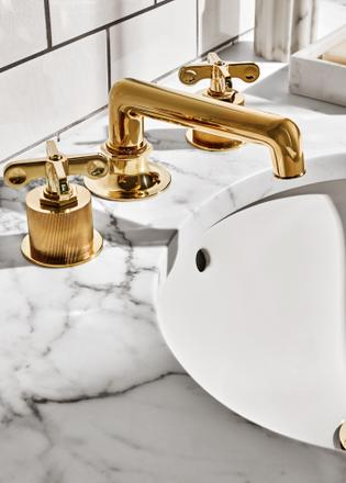 "waterworks unlacquered brass 8"" widespread low spout lav faucet - the ultimate quide to luxury plumbing by the delight of design"