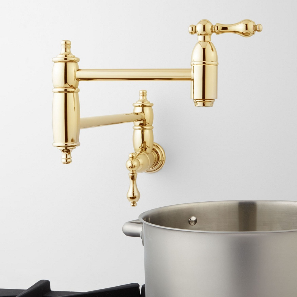 waterworks traditional oscillating pot filler in unlacquered brass - the ultimate guide to luxury plumbing by the delight of design