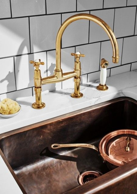 waterworks bridge cross handles with sidespray faucet in unlacquered brass and white porcelain - the ultimate guide to luxury plumbing by the delight of design