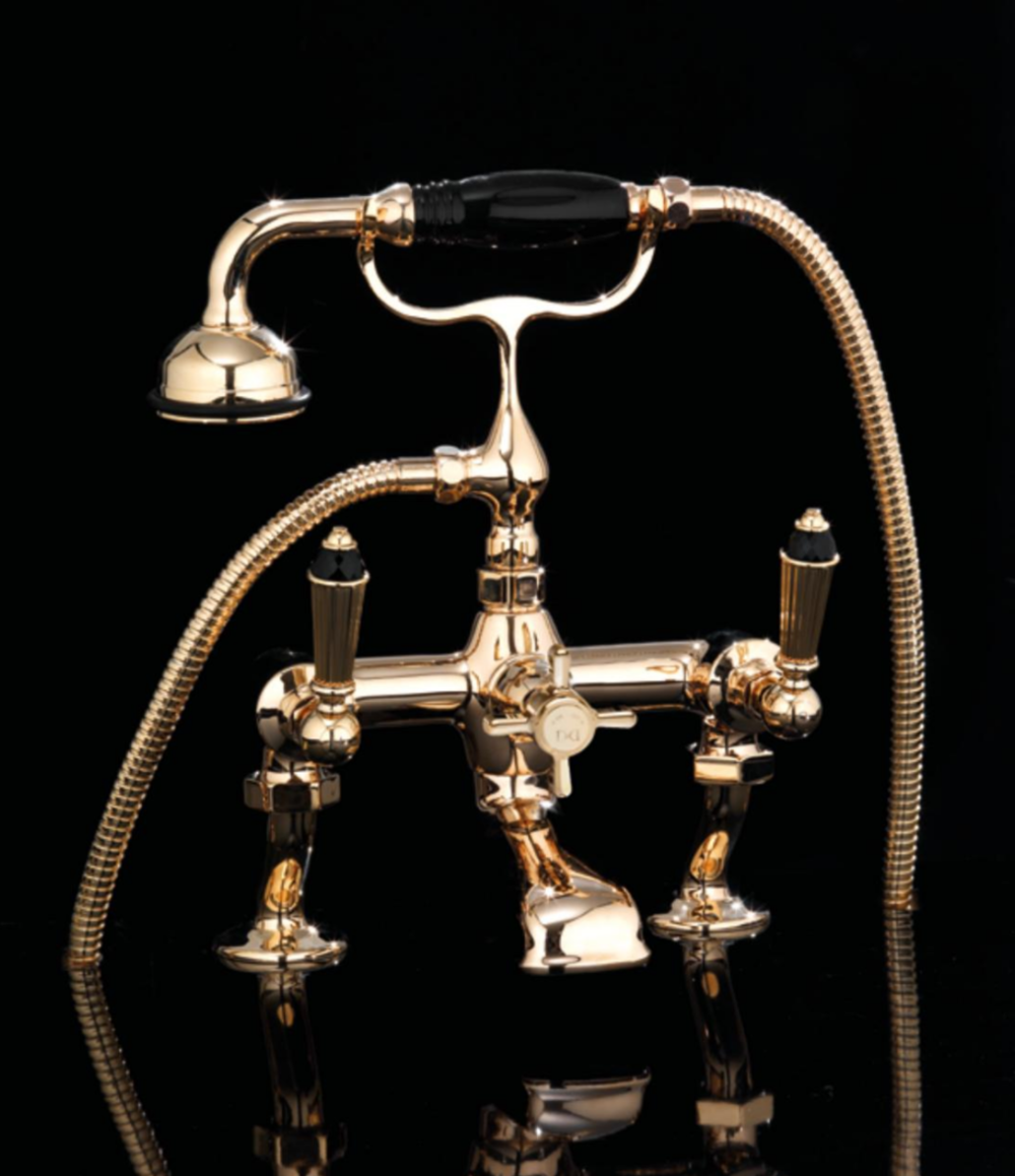 devon & devon traditional tub filler in polished gold with black trim and cross handle - the ultimate guide to luxury plumbing by the delight of design