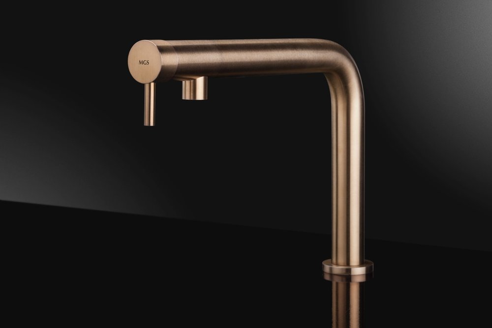 mgs milano contemporary minimalist single hole kitchen faucet with 90 degree spout in brushed copper - the ultimate guide to luxury plumbing by the delight of design