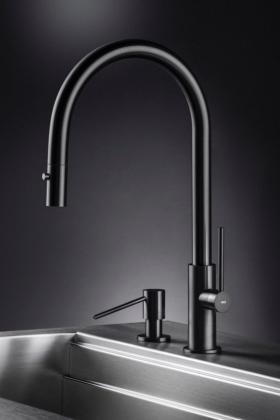 mgs milano contemporary single hole minimalist pulldown kitchen faucet with gooseneck spout in jet black stainless