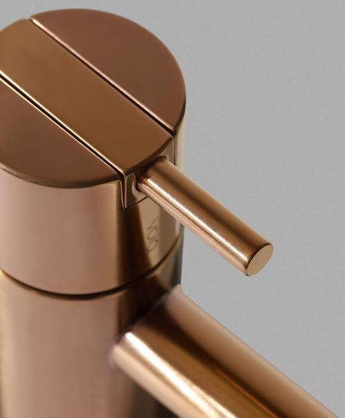 mgs milano single hole lav faucet with top lever handle and 90 degree spout in brushed copper - the ultimate guide to luxury plumbing by the delight of design