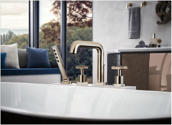 brizo contemporary deck mounted bath trim with handshower and cross handles in polished gold - the ultimate guide to luxury plumbing by the delight of design