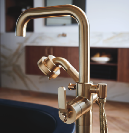 brizo litze freestanding tub filler in luxe gold - the ultimate guide to luxury plumbing by the delight of design