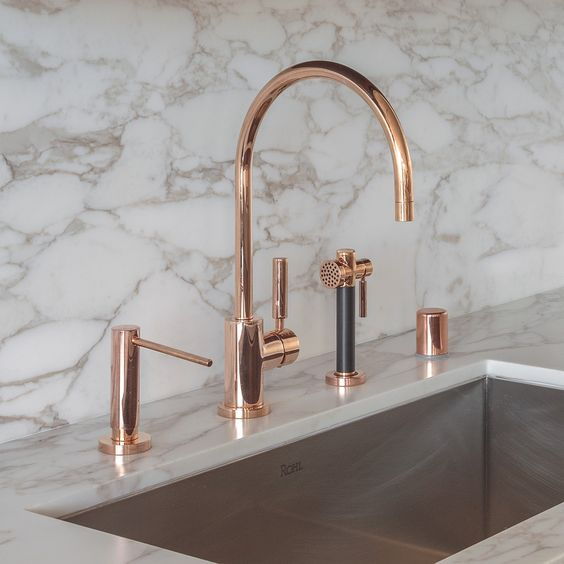 dornbracht contemporary gooseneck kitchen faucet with sidespray in rose gold - the ultimate guide to luxury plumbing by the delight of design