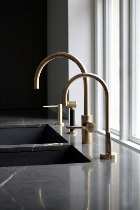 dornbracht contemporary single handle gooseneck kitchen faucet in unlacquered brass with drinking faucet - the ultimate guide to luxury plumbing by the delight of design