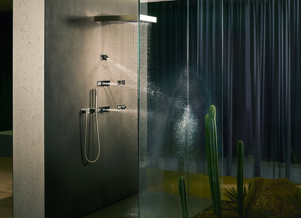 dornbracht spa shower with handshower bodysprays and raincan in polished nickel - the ultimate guide to luxury plumbing by the delight of design