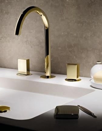 dornbracht gold contemporary widespread lav faucet with cube handles and gooseneck spout - the ultimate guide to luxury plumbing by the delight of design
