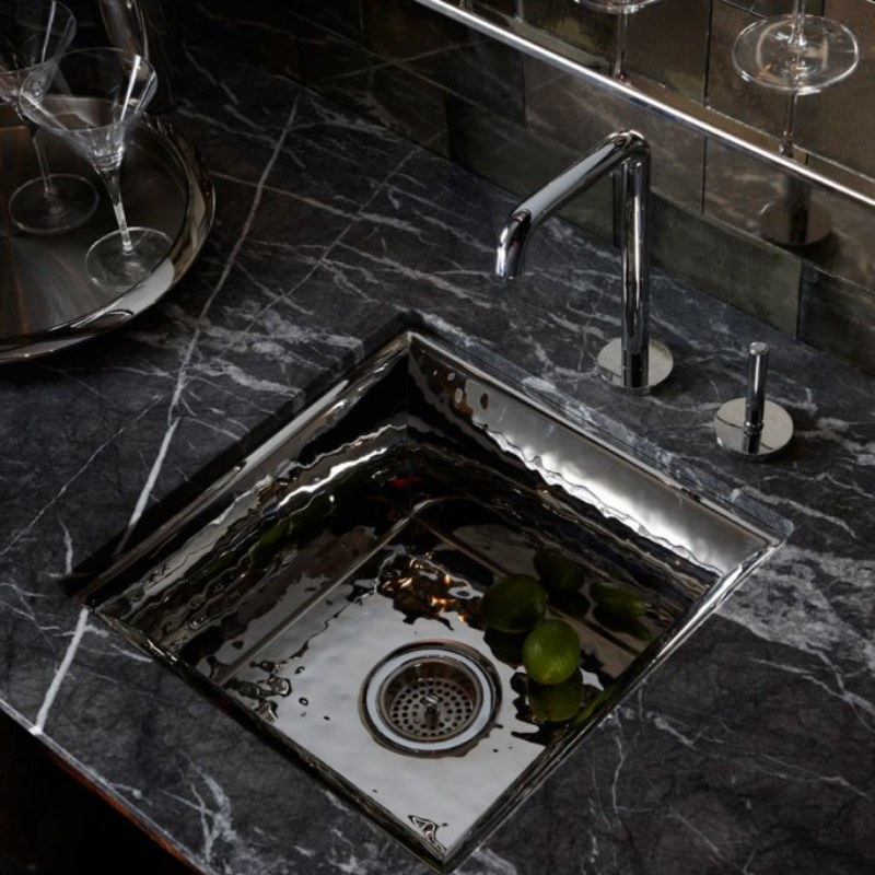 kallista one entertainment faucet in polished chrome and bacifiore sink in polished distressed stainless - the ultimate guide to luxury plumbing by the delight of design