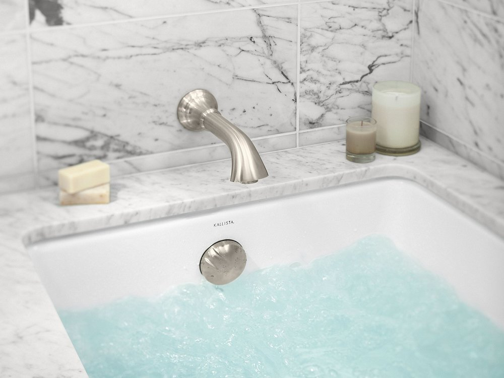 kallista inigo wall mount tub filler in brushed nickel - the ultimate guide to luxury plumbing by the delight of design