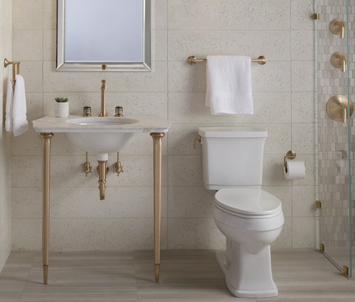 kallista script collection in blush bronze - the ultimate guide to luxury plumbing by the delight of design