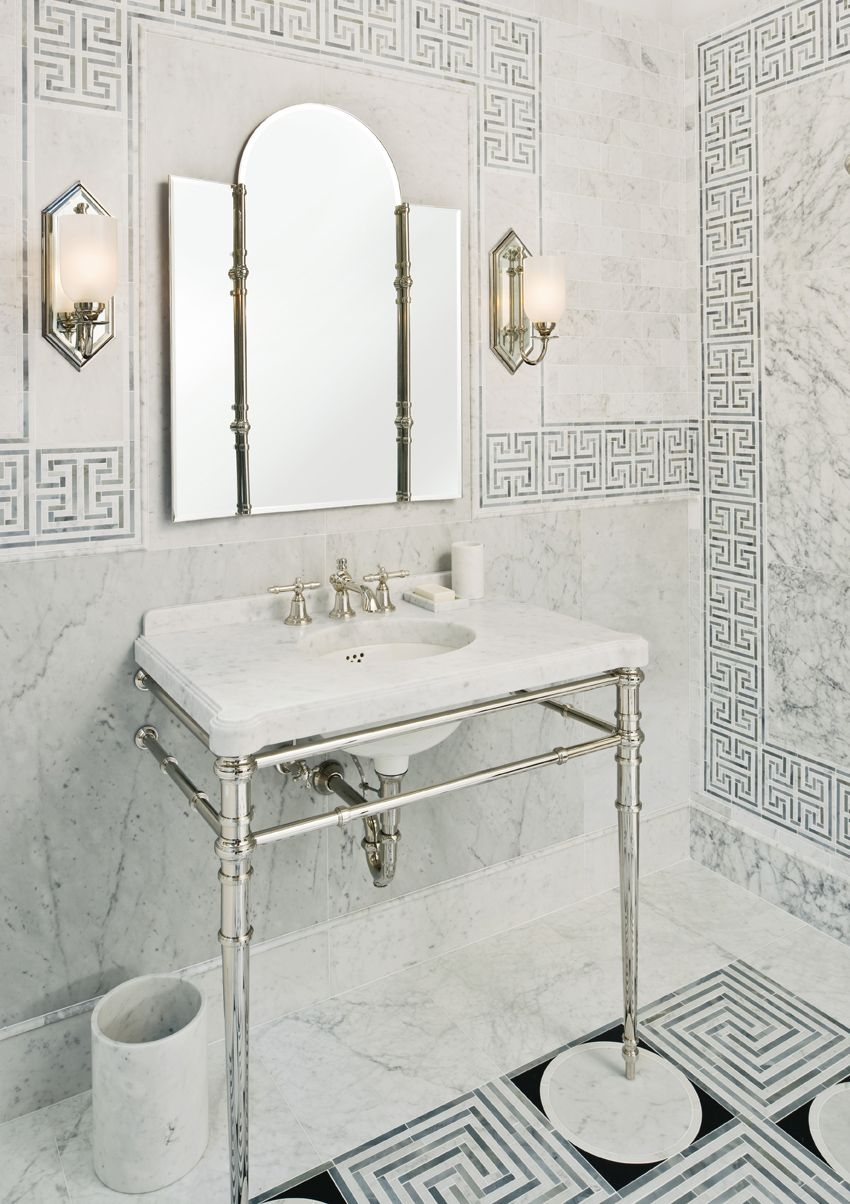 ann sacks cosmati mosaic kallista inigo console and sconce in polished nickel - the ultimate guide to luxury plumbing by the delight of design