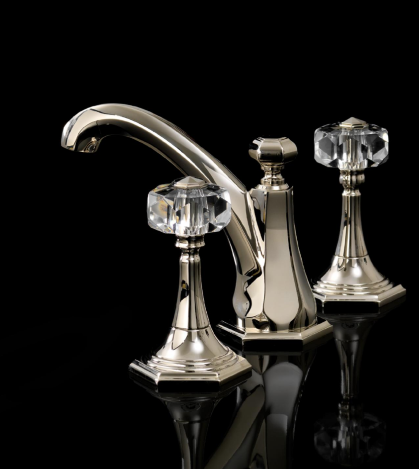 devon & devon deco widespread lav with crystal knob handles in polished nickel - the ultimate guide to luxury plumbing by the delight of design