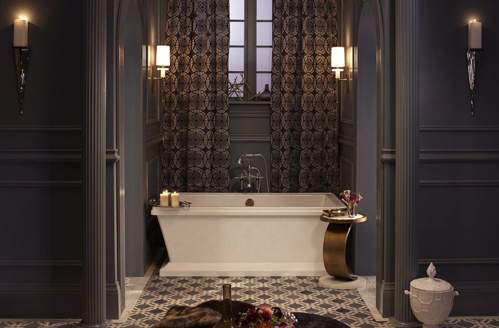 dxv art deco bathroom with traditional freestanding tub filler in polished chrome - the ultimate guide to luxury plumbing by the delight of design