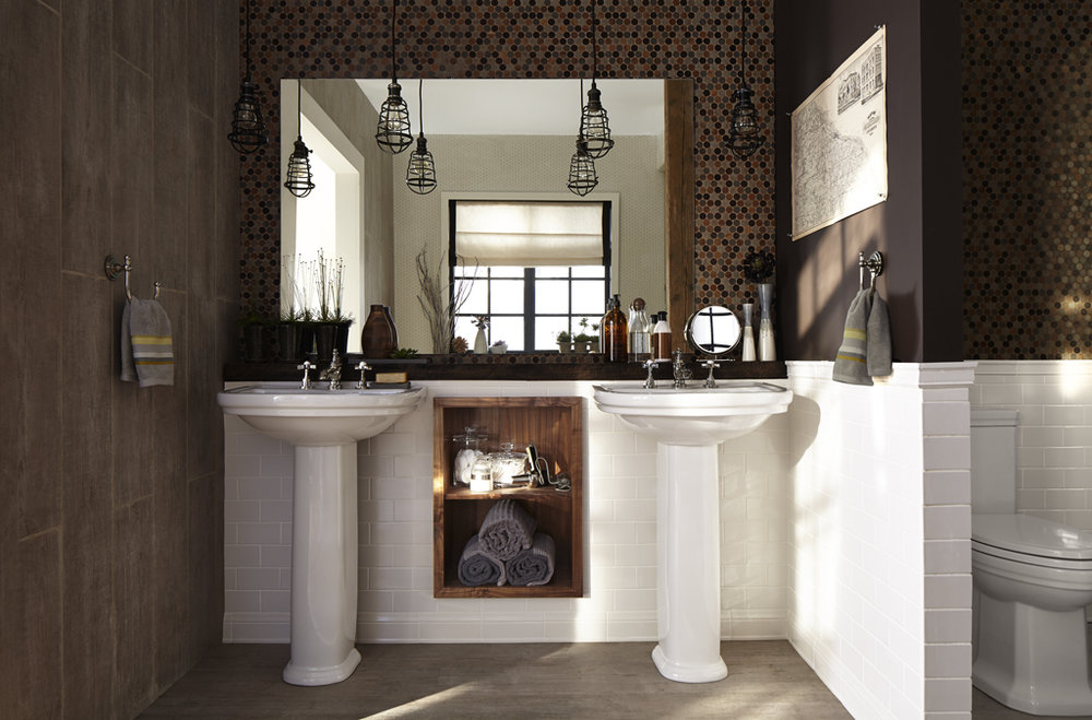 dxv double porcelain pedestals with widespread traditional lav faucets with low spouts and cross handles in polished chrome - the ultimate guide to luxury plumbing by the delight of design