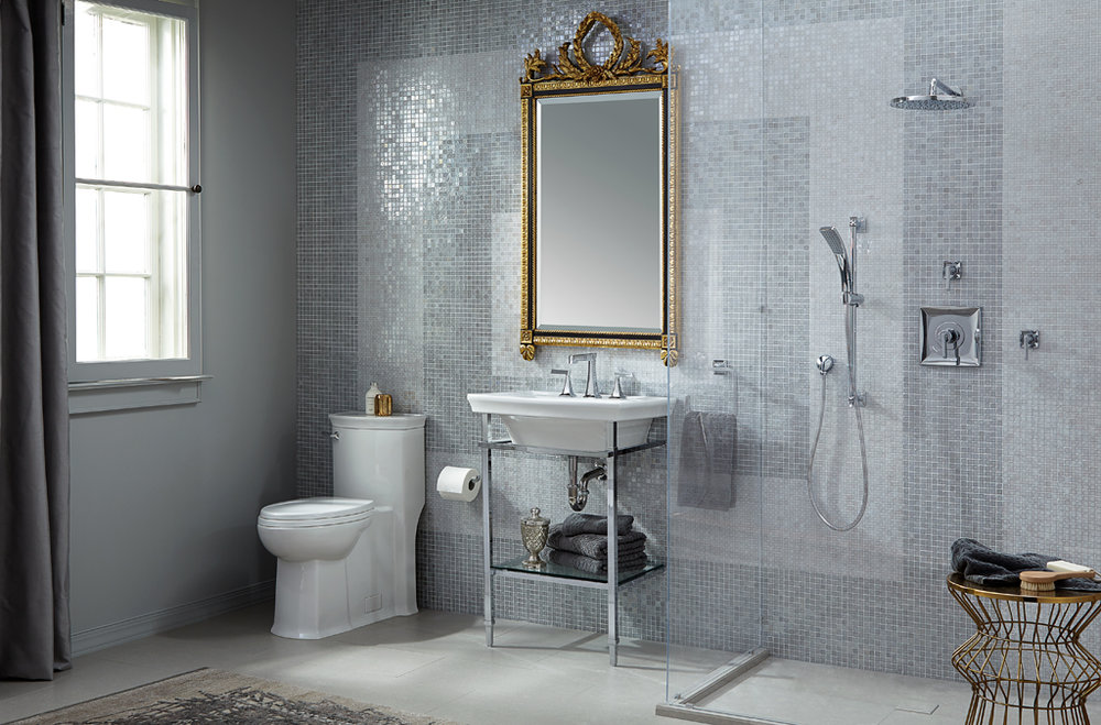dxv traditional bathroom with lever handles for shower trim and widespread lav faucet in polished chrome - the ultimate guide to luxury plumbing by the delight of design